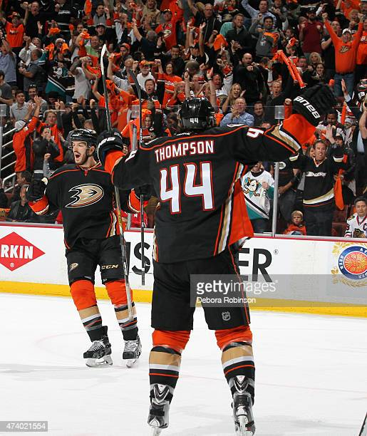 Simon Despres and Nate Thompson of the Anaheim Ducks celebrate during the game against the Chicago Blackhawks in Game Two of the Western Conference...