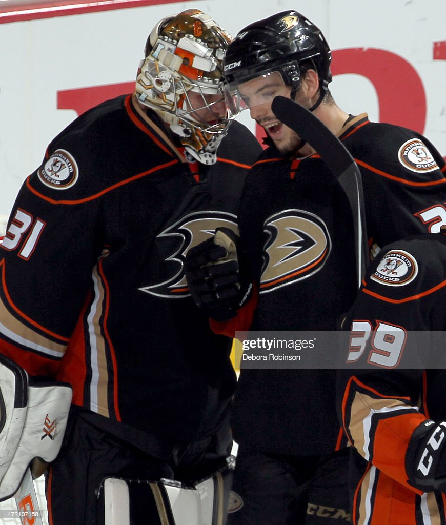Simon Despres #24 of the Anaheim Ducks celebrates with goalie Frederik Andersen #31 after defeating the Calgary Flames 3-0 in Game Two of the Western Conference Semifinals during the 2015 NHL Stanley Cup Playoffs at Honda Center on May 3, 2015 in Anaheim, California.