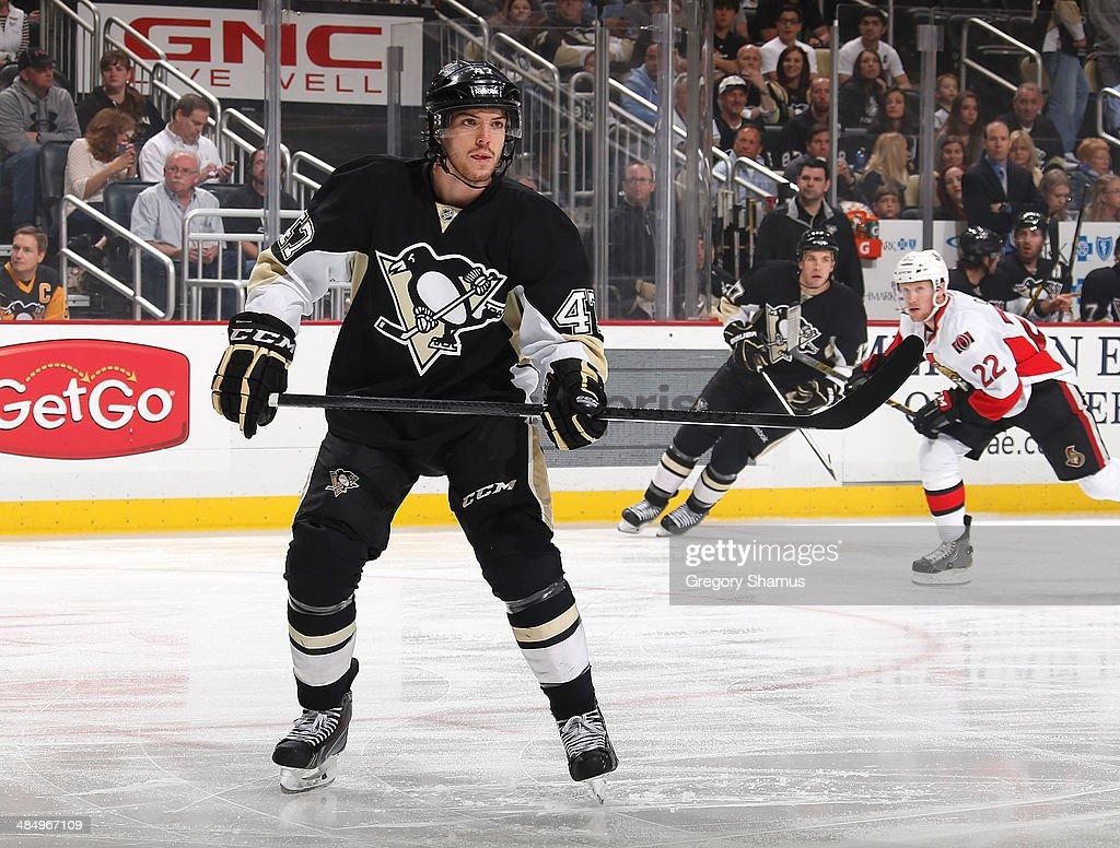 Simon Despres #47 of the Pittsburgh Penguins skates against the Ottawa Senators on April 13, 2014 at Consol Energy Center in Pittsburgh, Pennsylvania.