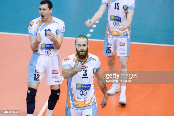 Simon Dubreuil of Nantes during the volleyball Ligue A match between Paris Volley and Nantes Reze at Salle Pierre Charpy on February 23 2017 in Paris...