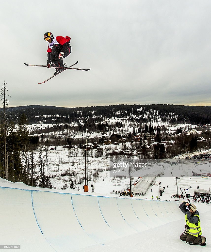 US Simon Dumont competes during the qualification race for the FIS men Freestyle Halfpipe Skiing World Cup in Oslo-Tryvann, Norway on March 4, 2013. The actual competition will take place on March 5, 2013.