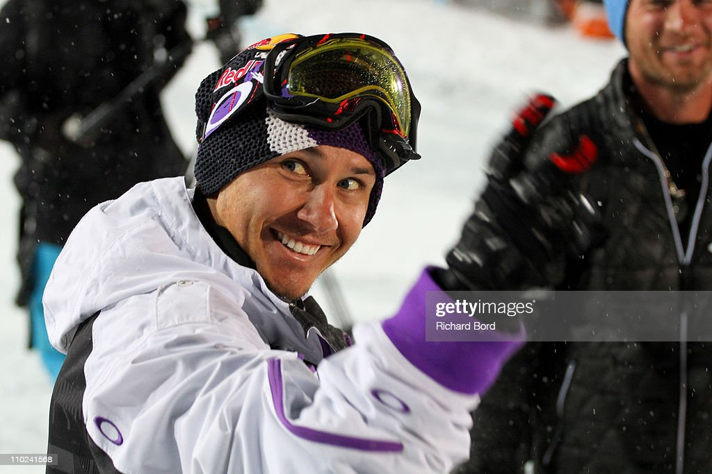 <a gi-track='captionPersonalityLinkClicked' href=/galleries/search?phrase=Simon+Dumont&family=editorial&specificpeople=221236 ng-click='$event.stopPropagation()'>Simon Dumont</a> of the United States smiles to his fans after the skiing Superpipe finals at the European Winter X-Games on March 16, 2011 in Tignes, France.