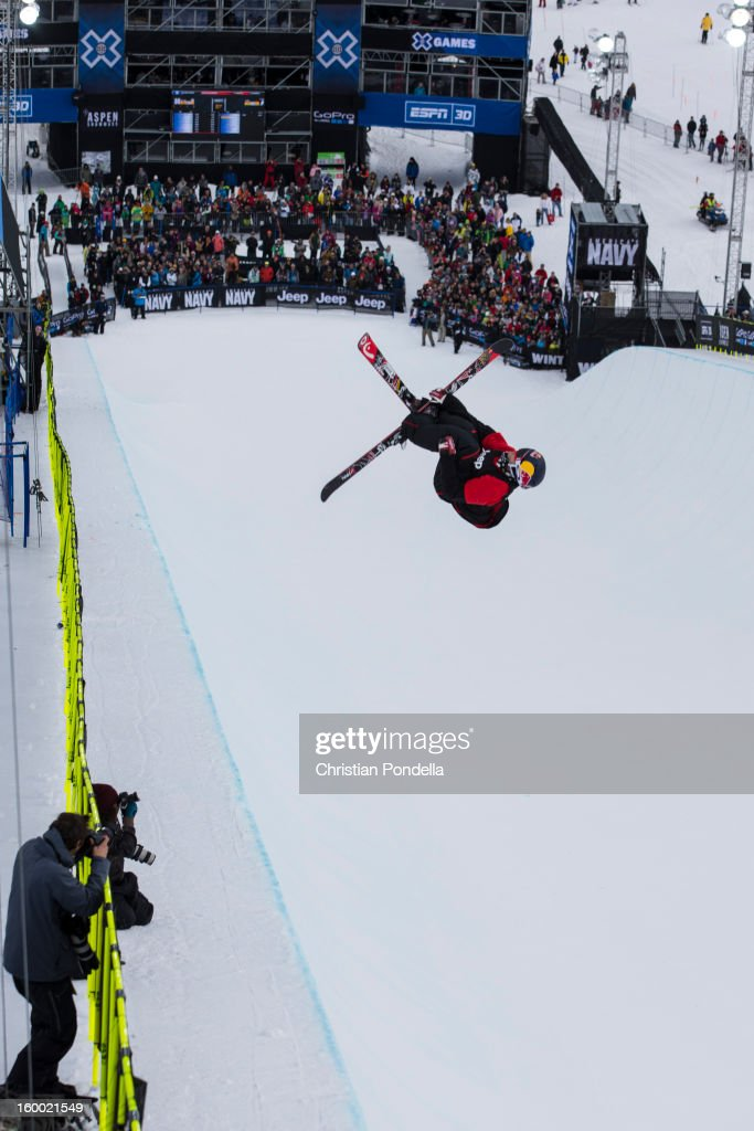 Simon Dumont of the USA skis during Men's Superpipe elimination at the X Games Aspen 2013 at Buttermilk January 24, 2013 in Aspen, Colorado.