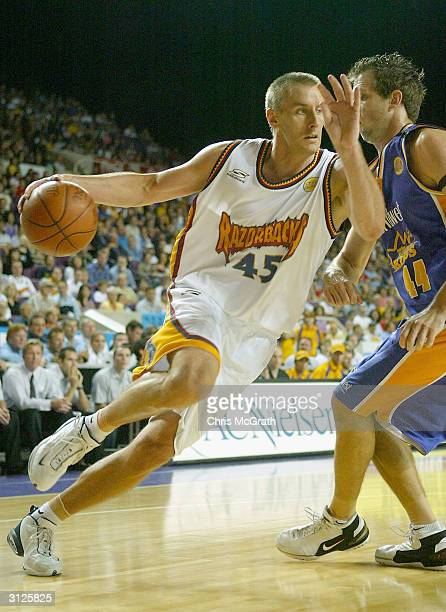 Simon Dwight of the Razorbacks drives to the basket during Game One of the NBL Finals series between the Sydney Kings and the West Sydney Razorbacks...