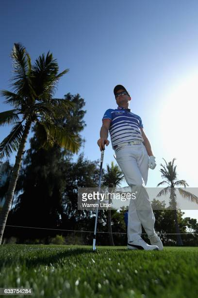 Simon Dyson of England is pictured on the fourth tee box during the completion of the weather delayed second round of the Omega Dubai Desert Classic...