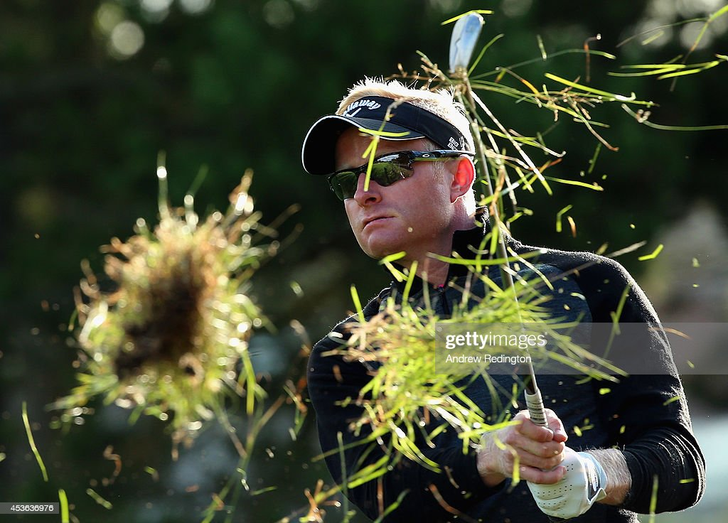 <a gi-track='captionPersonalityLinkClicked' href=/galleries/search?phrase=Simon+Dyson&family=editorial&specificpeople=214775 ng-click='$event.stopPropagation()'>Simon Dyson</a> of England plays his second shot on the first hole during the second round of the Made In Denmark at Himmerland Golf & Spa Resort on August 15, 2014 in Aalborg, Denmark.