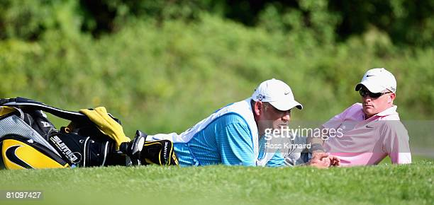 Simon Dyson of England waits to play the 18th hole during the first round of the Irish Open at Adare Manor on May 15 2008 in Limerick Ireland