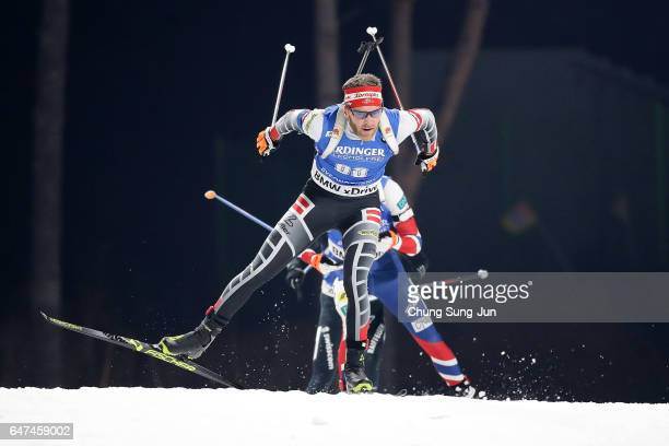 Simon Eder of Austria competes in the Men 10km Sprint during the BMW IBU World Cup Biathlon 2017 test event for PyeongChang 2018 Winter Olympic Games...