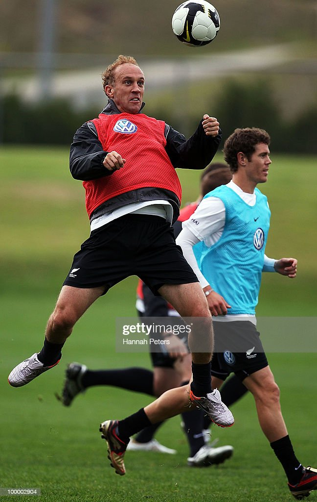 Simon Elliott heads the ball during a New Zealand All Whites training session at North Harbour Stadium on May 20, 2010 in Auckland, New Zealand.
