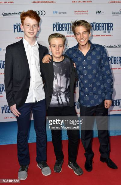 Simon Enge Philipp Franck and Marlon Kaindl during the 'Das Pubertier' Premiere at Mathaeser Filmpalast on July 4 2017 in Munich Germany