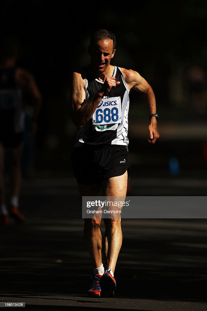 Simon Evans of Victoria competes in the Mens 50000 metre Race Walk Championship Open during the 50km race walking championships at Fawkner Park on December 9, 2012 in Melbourne, Australia.