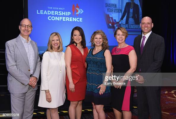 Simon Fanshawe Abbe Raven Melissa Lee Debbie Berebichez Carol Eggert and Michael Veltri pose for a photo during the WICT Leadership Conference at...