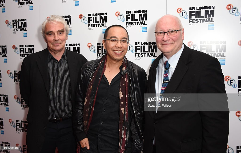 Simon Field, Keith Griffiths and Apichatpong Weerasethakul attend the 'Cemetery Of Splendour' screening during the BFI London Film Festival at Vue Leicester Square on October 13, 2015 in London, England.