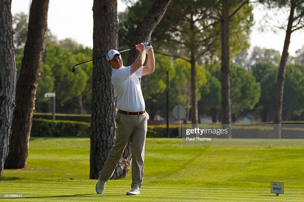 Simon Fitton of Nene Park Golf Club tees off on the PGA Sultan Course during day one of The Golfplan Insurance Pro Captain Challenge final at Antalya Golf Club on November 21, 2013 in Antalya, Turkey.