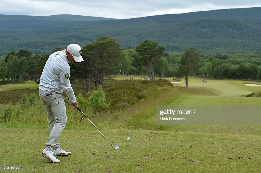 Simon Forsstrom of Sweden Tee shot to the 9th during the final day of the 2016 SSE Scottish Hydro Challenge at the MacDonald Spey Valley Golf Course on June 26, 2016 in Aviemore, Scotland.