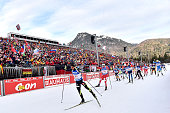 Simon Fourcade of France competes during the IBU Biathlon World Cup Men's Relay on January 15 2015 in Ruhpolding Germany