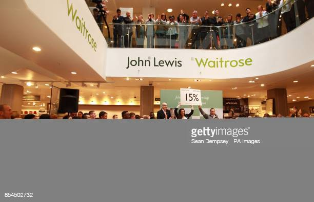 Simon Fowler MD of John Lewis Oxford Street and John Lewis partner Chloe Bye and Waitrose Partner Stephen Burrows as the John Lewis partnership...