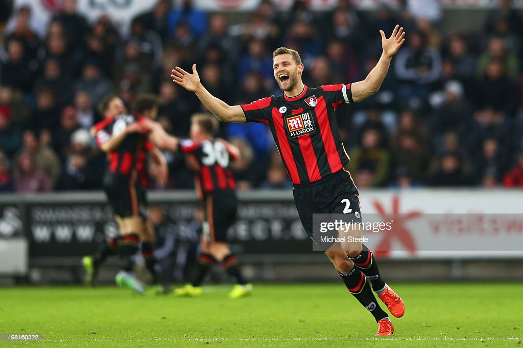 Simon Francis of Bournemouth celebrates his team's second goal during the Barclays Premier League match between Swansea City and AFC Bournemouth at...