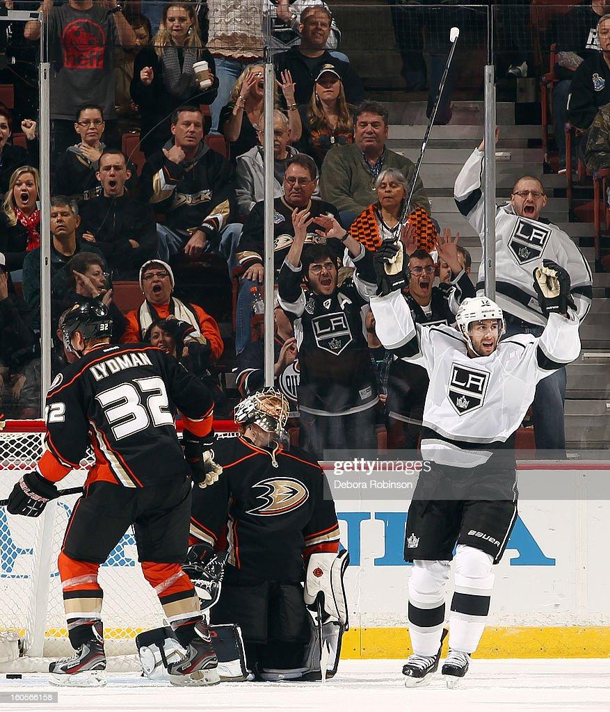 Simon Gagne #12 of the Los Angeles Kings celebrates a goal scored against Jonas Hiller #1 of the Anaheim Ducks on February 2, 2013 at Honda Center in Anaheim, California.