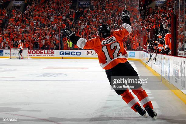 Simon Gagne of the Philadelphia Flyers celebates after scoring a goal in the second period against the Montreal Canadiens in Game 1 of the Eastern...