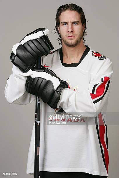 Simon Gagne of the Philadelphia Flyers poses for a portrait in his Torino 2005 Olympics jersey on January 4 2006 at the Flyers Skate Zone in Voorhees...