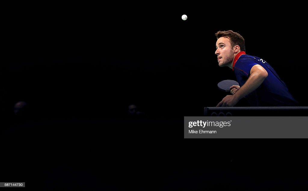 Simon Gauzy of France plays a Men's Singles third round match against Lei Kou of Ukraine on Day 2 of the Rio 2016 Olympic Games at Riocentro - Pavilion 3 on August 7, 2016 in Rio de Janeiro, Brazil.
