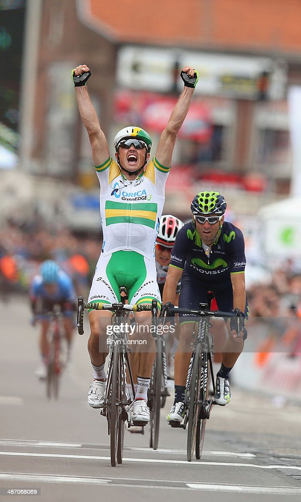 <a gi-track='captionPersonalityLinkClicked' href=/galleries/search?phrase=Simon+Gerrans&family=editorial&specificpeople=750380 ng-click='$event.stopPropagation()'>Simon Gerrans</a> of Australia and Orica GreenEDGE celebrates after he crosses the finish line to win the 100th edition of the Liege-Bastogne-Liege road race on April 27, 2014 in Liege, Belgium. The 263km race, named 'La Doyenne' is the oldest of the monuments in the cycling calendar.
