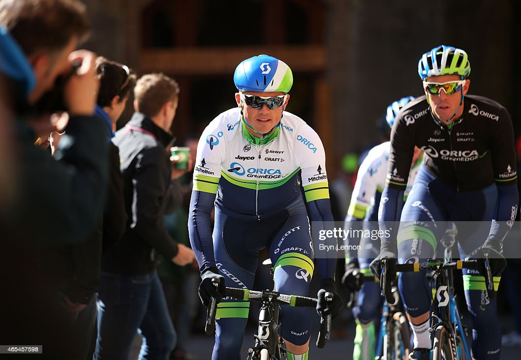 Simon Gerrans of Australia and Orica Greenedge heads to the start during the 2015 Strade Bianche from to San Gimignano to Siena ll Campo on March 7...