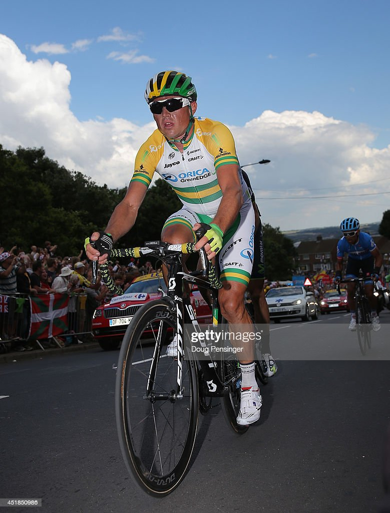 Simon Gerrans of Australia and OricaGreenEDGE makes the climb of Jenkins Road durign stage two of the 2014 Le Tour de France from York to Sheffield...