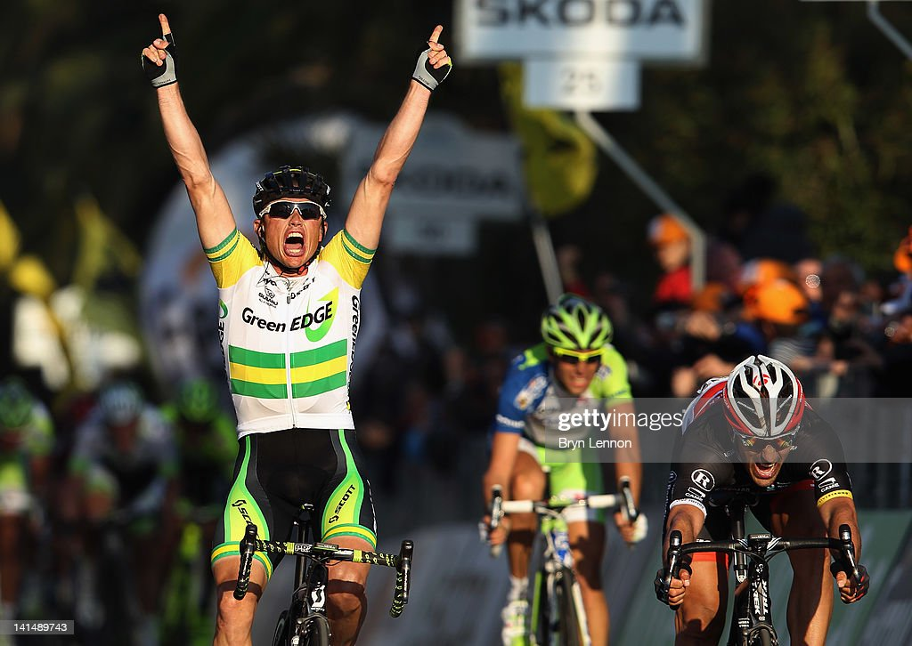<a gi-track='captionPersonalityLinkClicked' href=/galleries/search?phrase=Simon+Gerrans&family=editorial&specificpeople=750380 ng-click='$event.stopPropagation()'>Simon Gerrans</a> of Australia and the Greenedge Cycling team outsprints <a gi-track='captionPersonalityLinkClicked' href=/galleries/search?phrase=Fabian+Cancellara&family=editorial&specificpeople=573515 ng-click='$event.stopPropagation()'>Fabian Cancellara</a> (r) of Switzerland and Radioshack Nissan Trek to win the 2012 Milan Sanremo cycle race on March 17, 2012 in Sanremo, Italy.