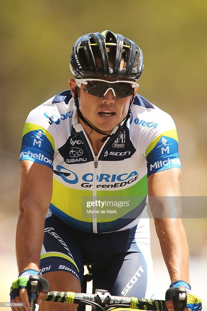 <a gi-track='captionPersonalityLinkClicked' href=/galleries/search?phrase=Simon+Gerrans&family=editorial&specificpeople=750380 ng-click='$event.stopPropagation()'>Simon Gerrans</a> of Australia and the Orica GreenEDGE team after crossing the line first to win stage five of the 2013 Tour Down Under on January 26, 2013 in Adelaide, Australia.