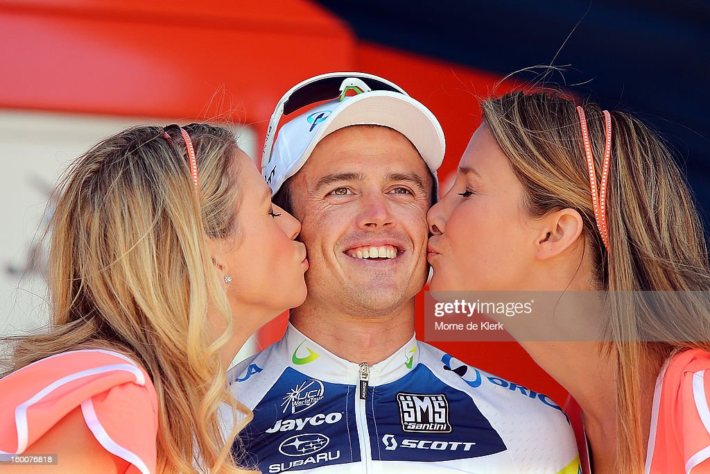 <a gi-track='captionPersonalityLinkClicked' href=/galleries/search?phrase=Simon+Gerrans&family=editorial&specificpeople=750380 ng-click='$event.stopPropagation()'>Simon Gerrans</a> of Australia and the Orica GreenEDGE team on stage after winning stage five of the 2013 Tour Down Under on January 26, 2013 in Adelaide, Australia.