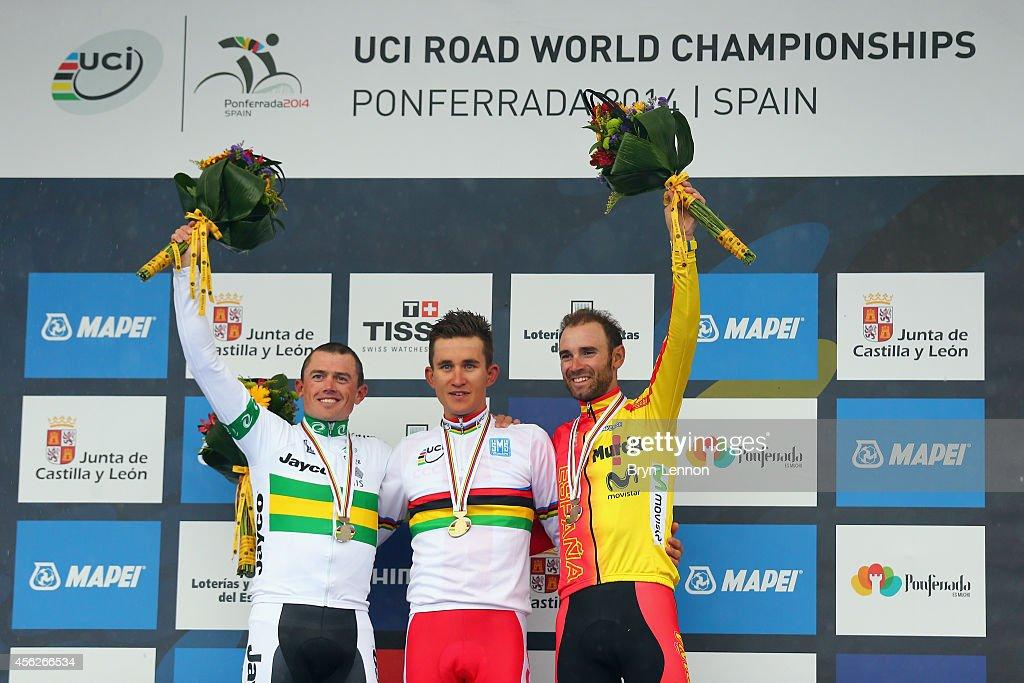 Simon Gerrans of Australia Michal Kwiatkowski of Poland and Alejandro Valverde of Spain stand on the podium after the Elite Men's Road Race on day...