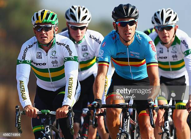 Simon Gerrans of Australia rides with Philippe Gilbert of Belgium during training for the UCI World Road Race Championships on September 25 2014 in...