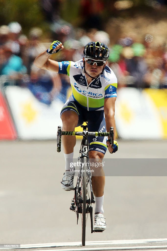 <a gi-track='captionPersonalityLinkClicked' href=/galleries/search?phrase=Simon+Gerrans&family=editorial&specificpeople=750380 ng-click='$event.stopPropagation()'>Simon Gerrans</a> of the Orica GreenEDGE team celebrates after crossing the line first to win stage five of the 2013 Tour Down Under on January 26, 2013 in Adelaide, Australia.