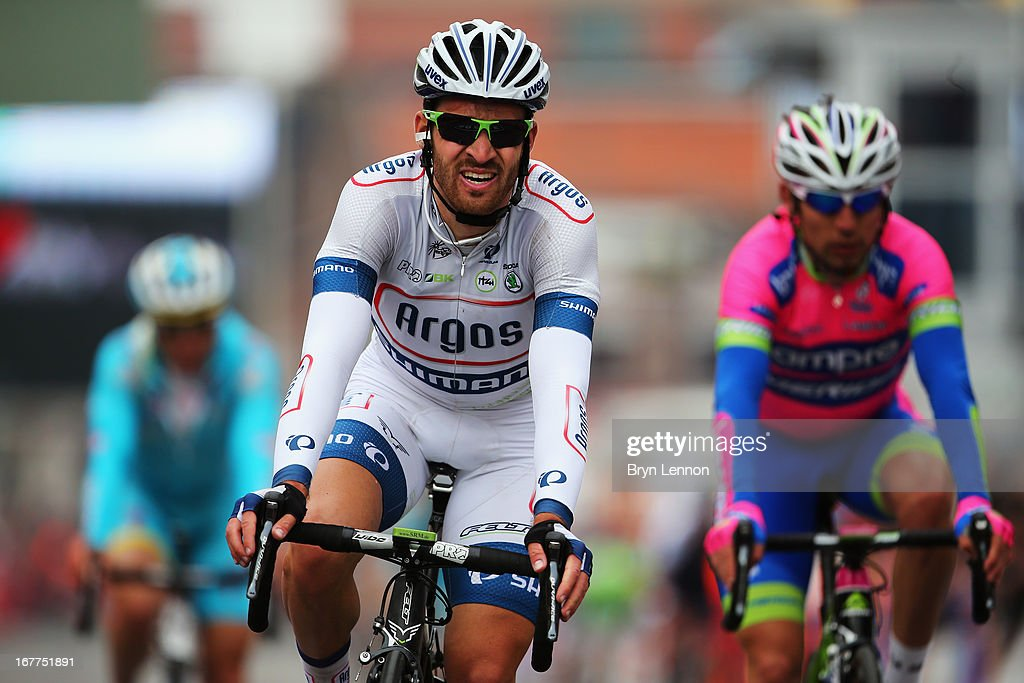 Simon Geschke of Germany and Team Argos-Shimano crosses the finish line during the 99th Liege-Bastogne-Liege road race on April 21, 2013 in Liege, Belgium. (Photo by Bryn Lennon/Getty Images).