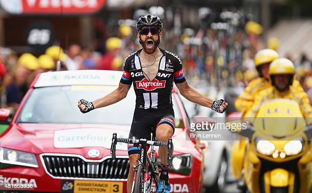 Simon Geschke of Germany and Team GiantAlpecin crosses the finish line to win Stage Seventeen of the 2015 Tour de France a 161km stage between...