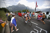 Simon Geschke of Germany and Team GiantAlpecin in action as supporters watch on during stage eighteen of the 2016 Le Tour de France from Sallanches...