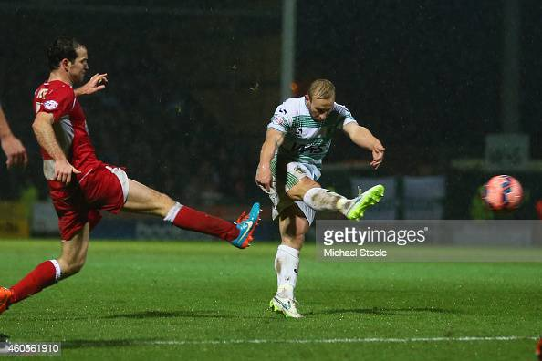 Simon Gillett of Yeovil scores his sides first goal during the FA Cup Second Round Replay match between Yeovil Town and Accrington Stanley at Huish...