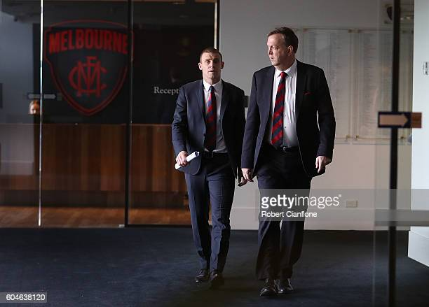 Simon Goodwin and Glen Bartlett arrive for a Melbourne Demons AFL press conference at Melbourne Cricket Ground on September 14 2016 in Melbourne...