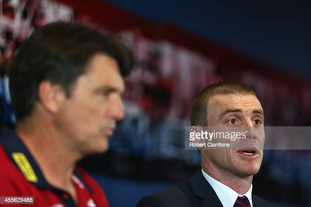 Simon Goodwin assistant coach of the Demons speaks to the media during a Melbourne Demons AFL press conference at Melbourne Cricket Ground on...