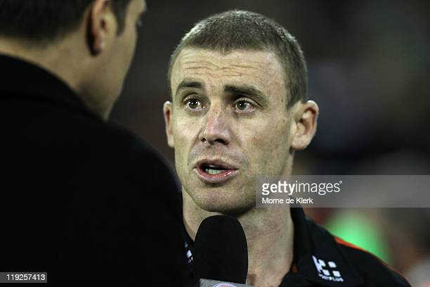 Simon Goodwin of the Bombers talks to media during the round 17 AFL match between the Adelaide Crows and the Essendon Bombers at AAMI Stadium on July...
