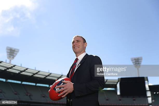 Simon Goodwin poses for the media after he was announced as the Demons senior coach after a Melbourne Demons AFL press conference at Melbourne...
