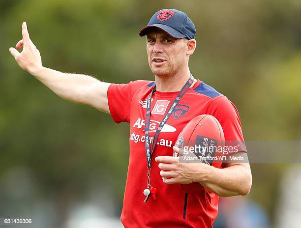 Simon Goodwin Senior Coach of the Demons in action during the Melbourne Demons training session at Gosch's Paddock on January 11 2017 in Melbourne...