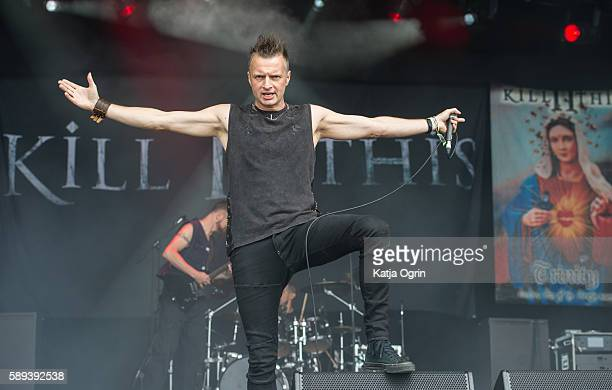 Simon Gordon of Kill II This performing live on stage at Bloodstock Festival at Catton Park on August 13 2016 in Burton upon Trent England