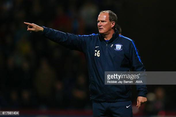 Simon Grayson head coach / manager of Preston North End gives instructions during the Sky Bet Championship match between Preston North End and...