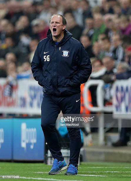 Simon Grayson Manager of Preston North End gives his team instructions during the EFL Cup fourth round match between Newcastle United and Preston...