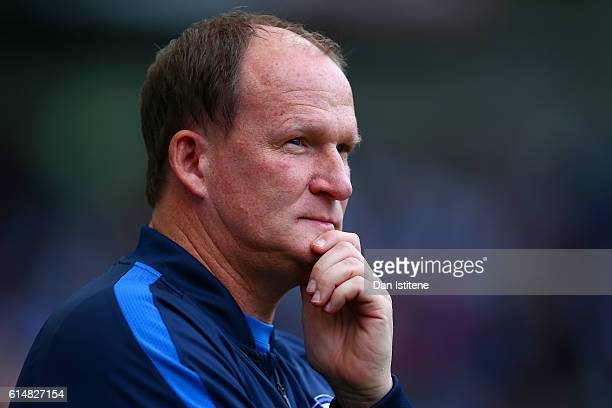 Simon Grayson manager of Preston North End looks on before the Sky Bet Championship match between Brighton Hove Albion and Preston North End at Amex...