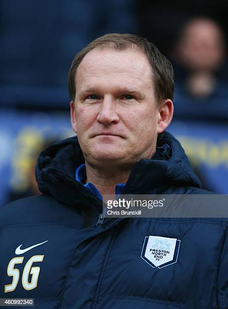 Simon Grayson manager of Preston North End looks on during the FA Cup Third Round match between Preston North End and Norwich City at Deepdale on...