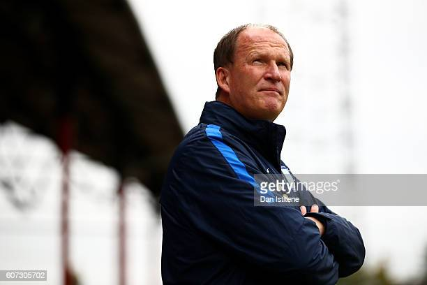 Simon Grayson manager of Preston North End looks on during the Sky Bet Championship match between Brentford and Preston North End at Griffin Park on...